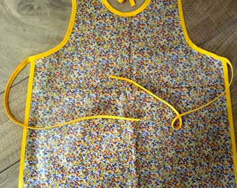 apron 3/6 years in coated cotton liberty style