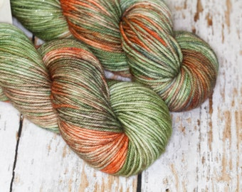 Hand Dyed,Sparkle Yarn, DK weight, Superwash Merino Wool Nylon in Greens and Oranges