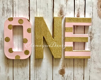Gold Glitter/Pink Polka Dot & Stripes One letters
