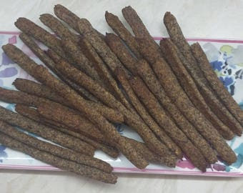 LOW CARB Bread Sticks with various seeds - light and crisp - ideal for dips. No grains!