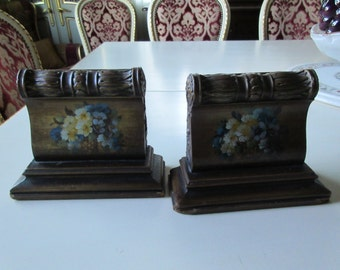 ANTIQUE WOOD BOOKENDS