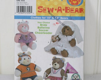 Simplicity 5280 Sew A Bear 15 inches 18 inches Bear