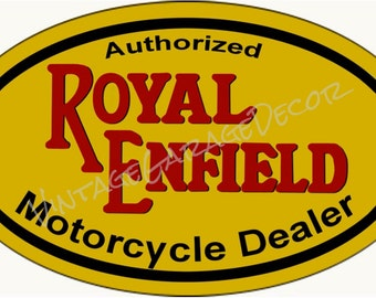 "Vintage Style "" Authorized Royal Endfield Motorcycle Dealer "" Oval Metal Sign"