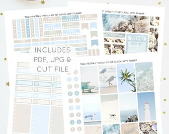 Beach Neutrals - Printable Weekly Kit for Classic Happy Planner   Planner Stickers   Instant Download   PDF & JPG   Includes Cut File
