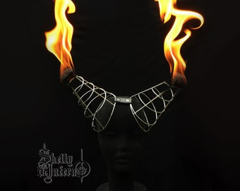 INFERNO Spiral Horns | Fire dance headdress equipment flaming costume poi dance Performing Performance Headpiece