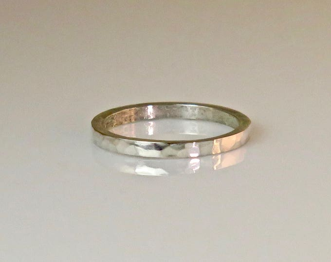 Hand forged ring, sterling silver ring, size 5, hammered, handmade, thick gauge, handsome, free domestic shipping.