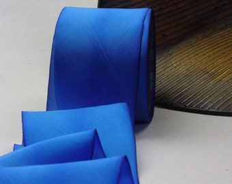 "Hand Dyed Silk Ribbon 2.5"" Blue Color 355 Riff  3 yard Bias Cut Length"