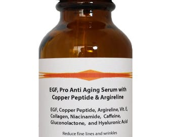 EGF Peptide, Pro Anti Aging Serum with Copper Peptide, Argireline, and Hyaluronic Acid Serum