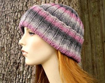 Instant Download Knitting Pattern - Mens Slouchy Hat Pattern Womens Hat Knitting Pattern - Knit Hat Pattern Wide Cuff Beanie Pattern