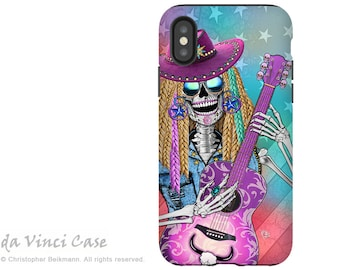 Country Girl Sugar Skull iPhone X Tough Case - Country Western Dia De Los Muertos Dual Layer Case for Apple iPhone 10 - Scary Underwood