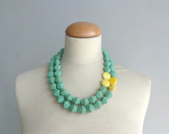 Green statement necklace, double strand, Yellow green necklace