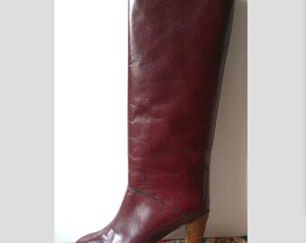 New / boots Burgundy 70s leather and lined leather. Heels Giancarlo/tops/size EU: 40 US 9 UK 7