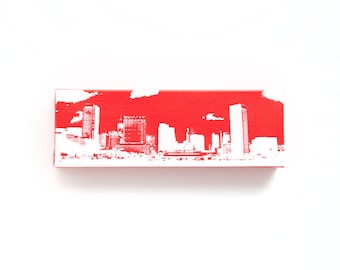 Baltimore Skyline Canvas (12 x 4 inches, Red with White) Cityscape Art - Screen Print & Painting Home Decor