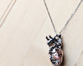 Anatomical Heart Necklace, Anatomical Necklace, Heart Necklace, Heart, Anatomical Silver Heart, Unique Gift Anatomy Heart Surgeon Nurse Gift