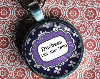 Pet iD Tag purple patterned colorful round Dog Tag 35mm round -  by California Mutts