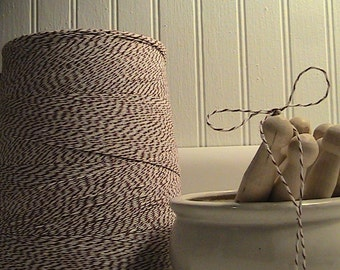 10 Yards of Bakers Twine - Cocoa Brown and White