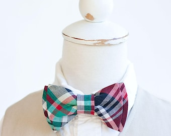 Bow Ties, Boys Bow Ties, Baby Bow Ties, Bowties, Ring Bearer, Bow ties For Boys, Plaid Bow Tie - Red, Navy, Green Organic Madras Plaid