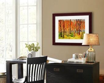 tree art | tree artwork | tree painting | landscape art | tree wall art | birch tree art | coral orange | mixed media art PRINT collage art