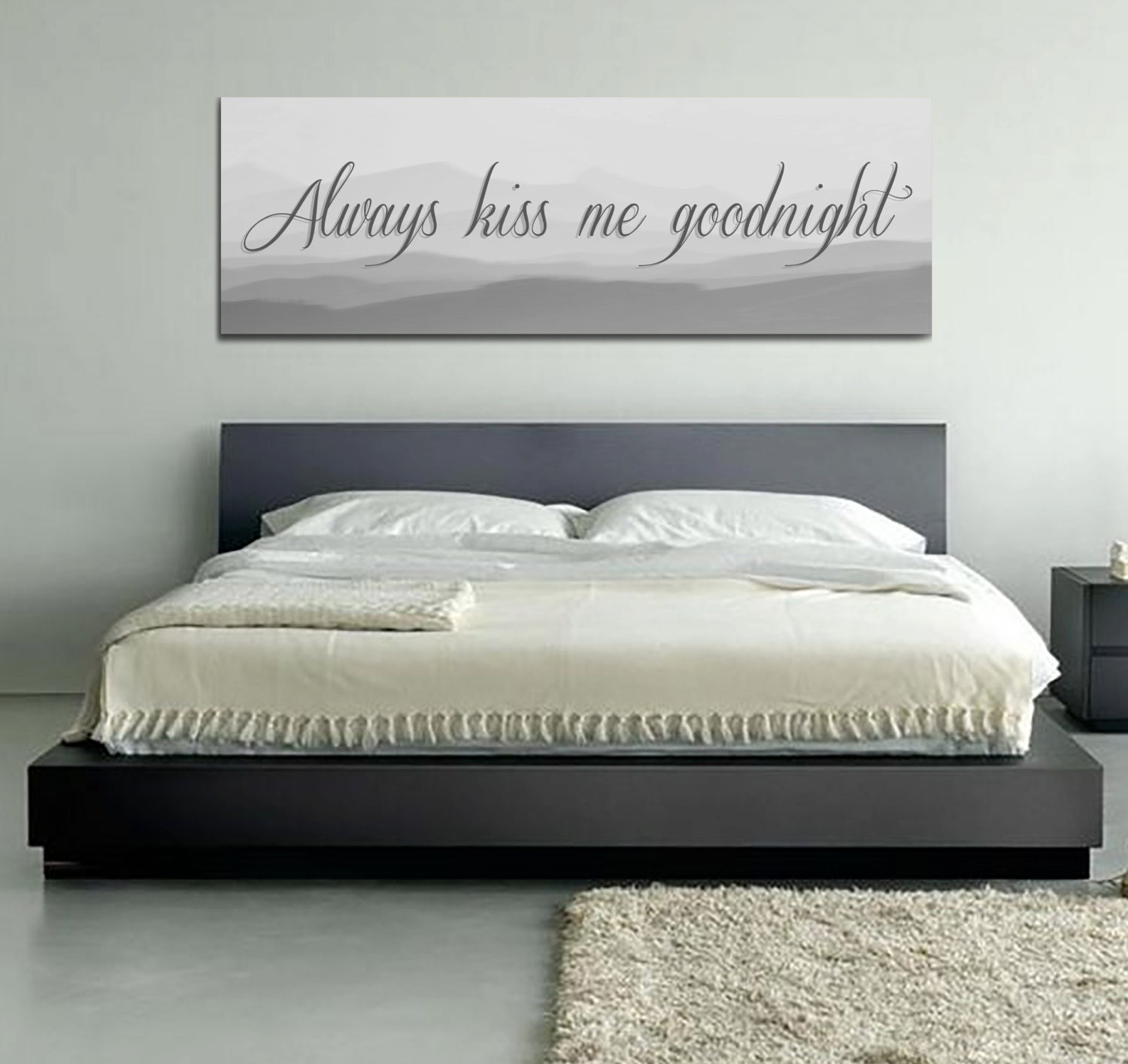 Always Kiss Me Goodnight Love Quote Artwork Cute Home Decor