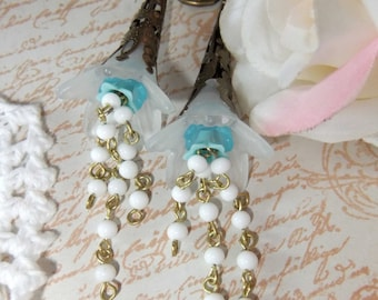 Vintage Rosary Chain, Acrylic Flowers, Vintage Lucite Aqua Blue Bell Flower in Brass Filigree Cone