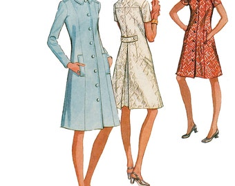 1970s MCCALLS 2688 COATDRESS PATTERN Front Button Shirtwaist Dress Half Size Bust 39 Size 16.5 UNCuT Women's Plus Size Sewing Patterns