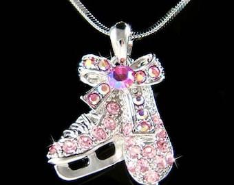 Pink Swarovski Crystal Girls Ice figure Skating Hockey Shoes Skate Pendant Chain Necklace Christmas Gift New