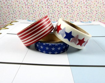 Washi Tape Sample - Recollection Washi - Stars And Stripes Washi - American Washi