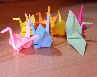 50 assorted paper cranes