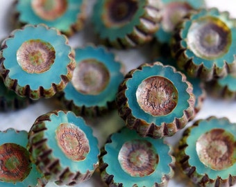 Table Cut Picasso Aqua Opal Daisy Beads - Picasso Coin Flowers - Pemium Czech Glass Beads - Bead Soup Beads