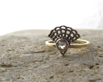 READY TO SHIP Gift Antique style rose cut diamond ring, Victorian oxidized setting and a yellow gold band, alternative engagement ring
