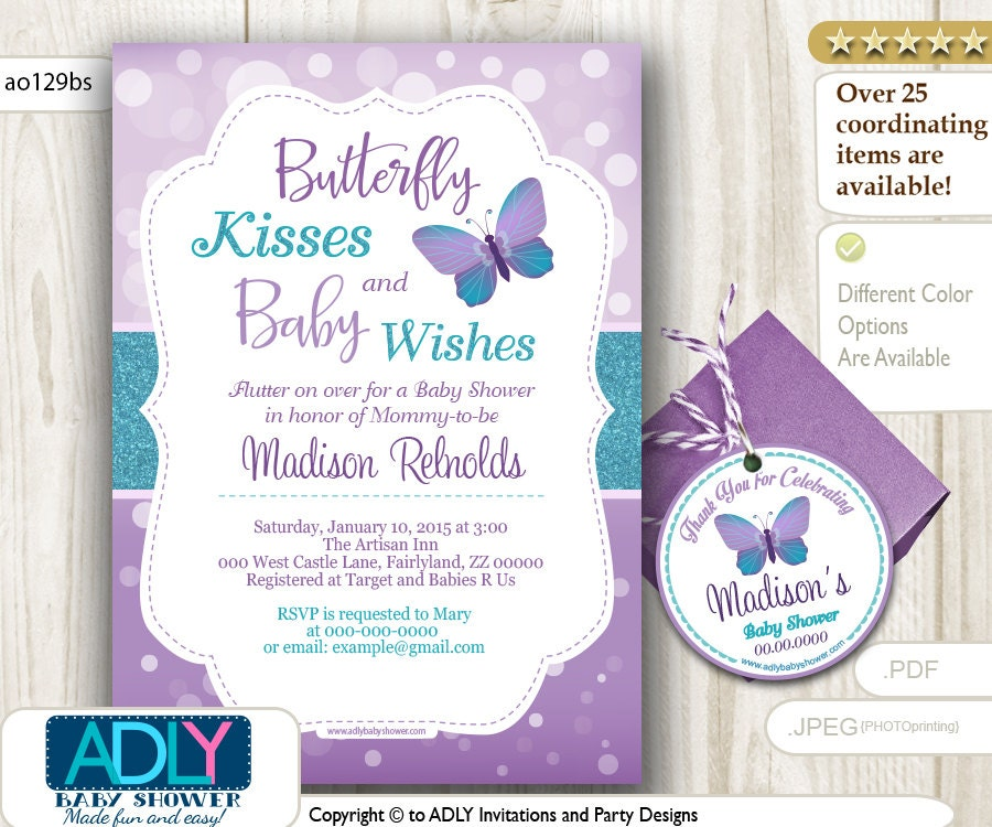 Purple Teal Butterfly Kisses Baby Wishes Invitation for Baby