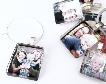 Custom Photo Glass Wine Charms l Fits Coffee Mugs, Tea Cups or Wine Glasses l  Personalized Gift for Her, Women, Mom, Dad l Scrabble Size