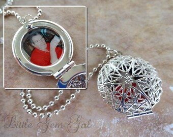 Custom Photo Locket - Personalized Picture Necklace - Victorian Vintage Fililgree Style Silver or Antique Bronze Locket - Memorial Jewelry