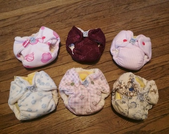 Girly Print NB/Small Fitted Cloth Diaper