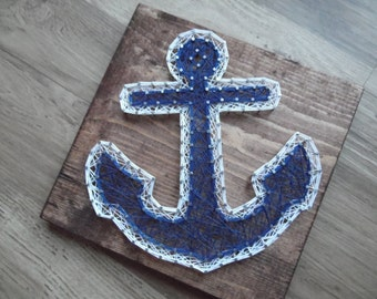 Anchor String Art, String Art Anchor, Anchor Decor, Anchor Wall Hanging, Nautical Decor, Nautical String Art, Nautical Wall Hanging, Anchor