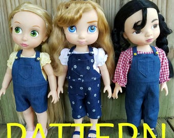 Overall Pack SEWING PATTERN for Disney Animator Dolls, Sewing Pattern, Doll Clothes, 16 in Doll Clothes, Overall Pattern, Overall Shorts