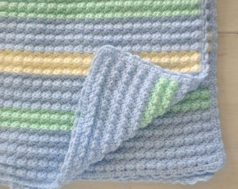 Baby Blanket Handmade Crochet Blanket Blue Green White Nautical Shell Stitch Knit Stroller Blanket for Baby Boys - 32 x 31 Inches