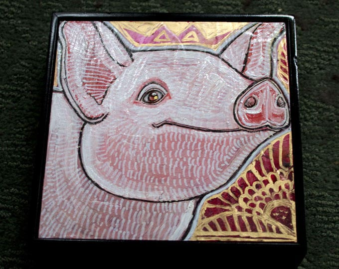 Original Miniature Painting of Happy Pink Pig by Lynnette Shelley