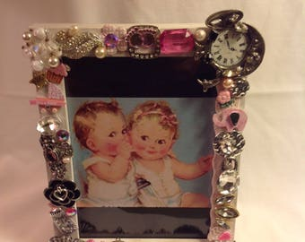 This Adorable 5x7 Handmade Jeweled Baby Picture Frame a Great Gift!