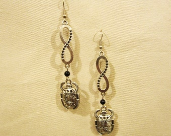 "Egyptian infinity Scarab silver tone earrings with semi precious stone that you choose. 3.5"" or 8.5cm long x0.75"" or 2cm"