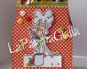 Kitchen NOTES or My Christmas RECIPES - Sweet handmade spiral-bound notebook with cute chef