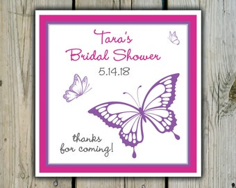 Square Custom Butterfly Favor Labels / Stickers - Butterflies - Personalized Butterfly Wedding Favor Stickers / Shower Labels / Birthday