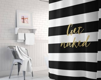 Black And Gold Shower Curtain, Striped Shower Curtain, Gold Shower Curtain, Gold  Bathroom