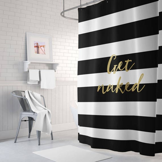 gold and white striped shower curtain. Like this item  Get naked shower curtain striped gold