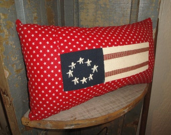 Americana Pillow | Stars And Stripes Pillow |  Old Glory Pillow | Primitive Flag Pillow | Red, White And Blue Pillow