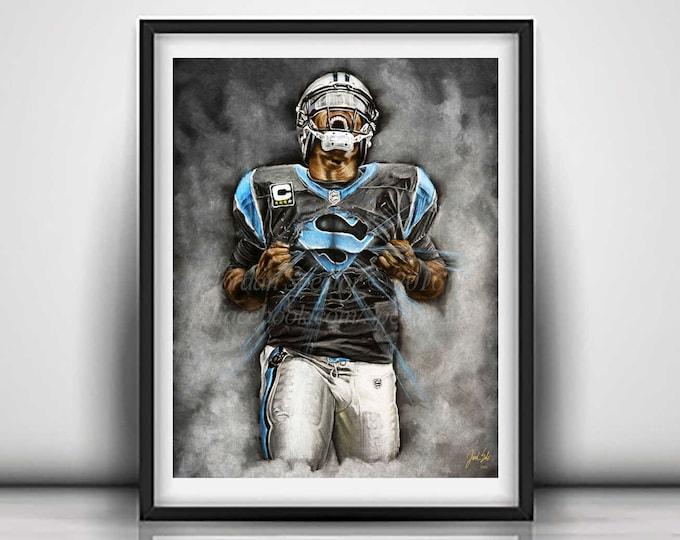 Cam Newton Art Print - Carolina Panthers - Wall Art - Man Cave Art - Panthers Decor - Dorm Decor - Panthers Gifts - Super Cam - 16x20