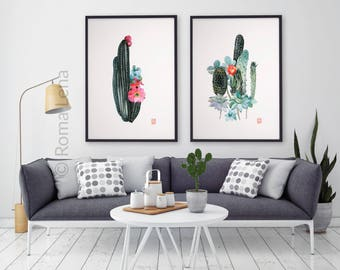 Cactus Wtercolor painting Flowers set of 2 prints Wall art for kitchen living room farmhouse home decor Wildflowers Painting floral drawing