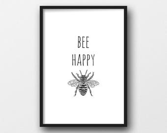 A4 Home Print 'Bee Happy'