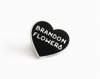 "Brandon Flowers Black and Silver Heart Pin // TV inspired // 1"" hard enamel lapel pin"