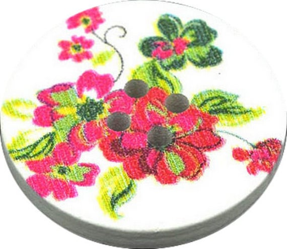 BBR30257 - 2 BUTTONS ROUND 30 MM WOODEN PATTERN WITH COLORS